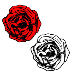 rose in tattoo style design element for logo vector image vector image