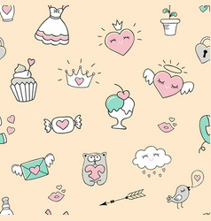 Seamless pattern with hearts and love doodles vector