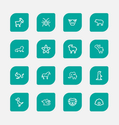 Set of 16 editable animal outline icons includes vector