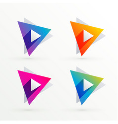 Set of triangle banners in four colors vector