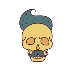 Skull with hipster hairmustache and beards vector