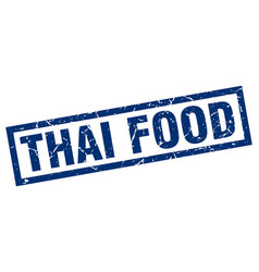 square grunge blue thai food stamp vector image vector image