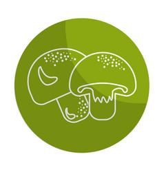 Sticker delicious fresh mushrooms organ food vector