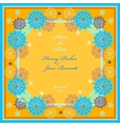 Winter wedding frame with yellow and blue vector