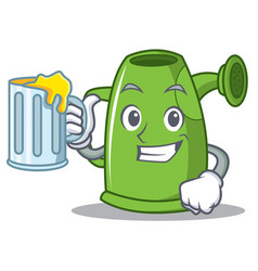 with juice watering can character cartoon vector image