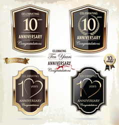 10 years anniversary labels vector