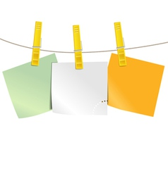 Color blank paper pieces on rope vector