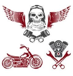 Biker theme label set vector
