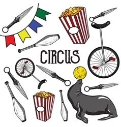 Circus Collection of hand drawn icons vector image