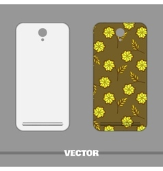 Phone cover with green floral pattern vector