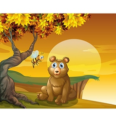 A brown bear and a bee near the cliff vector image