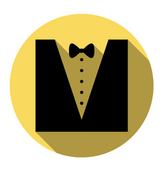 tuxedo with bow silhouette flat black vector image