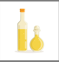 Sunflower or olive oil glass bottles vector