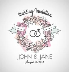 Wedding invitation rose vector image