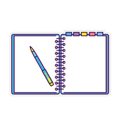 Flat design notepad with a pen vector