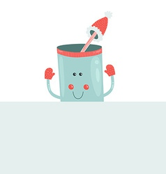Christmas mug with blank banner vector