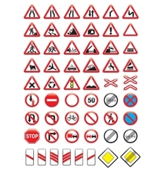 Set of glossy road signs vector