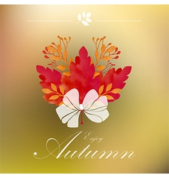 Autumnal frame with white ribbon vector