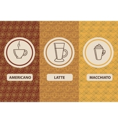 Set linear coffee package ornamental vector