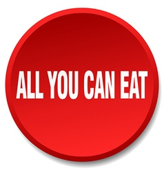 All you can eat red round flat isolated push vector