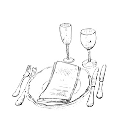 Hand drawn wares romantic dinner vector