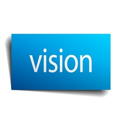Vision blue paper sign isolated on white vector