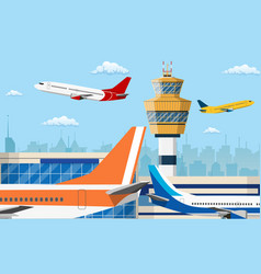 Airport control tower and flying civil airplane vector