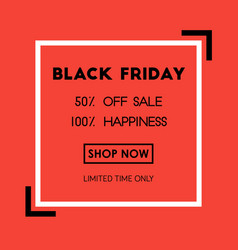black friday sale poster on red background with vector image