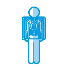 Blue shading silhouette pictogram patient and vector
