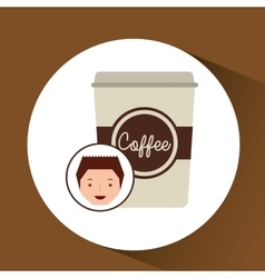 Cartoon guy with cup white coffee design icon vector