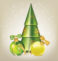 Christmas balls with bows serpentine and tree vector
