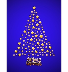 Christmas tree made from stars blue background vector image