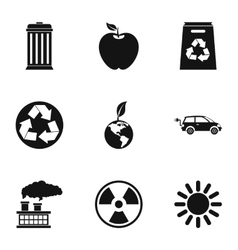Conservation icons set simple style vector