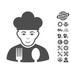 Cook icon with tools bonus vector