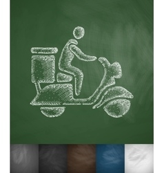 Delivery man on scooter icon vector