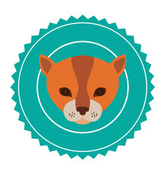 emblem cat hunter city icon vector image
