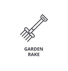 Garden rake line icon outline sign linear symbol vector