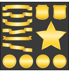 Golden Ribbons Shields Stars and Badges vector image vector image