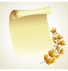 Laurel branch and a scroll vector image vector image