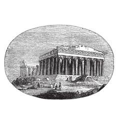 Modern parthenon the athenians vintage engraving vector