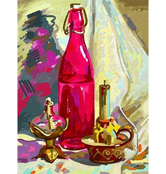 original digital painting still life vector image vector image