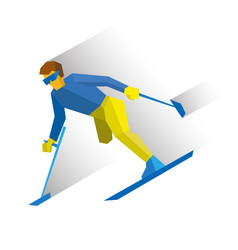 Para-alpine ski disabled skier running downhill vector
