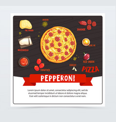 pepperoni pizza label pizzeria menu whole hot vector image