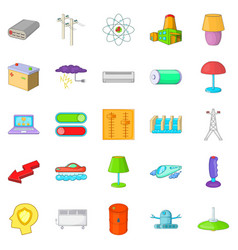 Power transmission icons set cartoon style vector