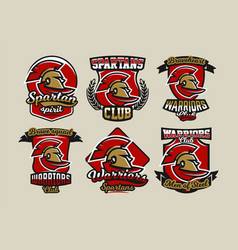 set of colorful logos emblems spartan helmet and vector image vector image
