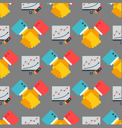shaking hands seamless pattern business vector image