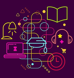 Symbols of education on abstract colorful dark vector