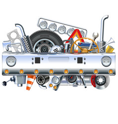 truck bamper with spares vector image vector image