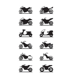 Various types of motorcycles vector image vector image