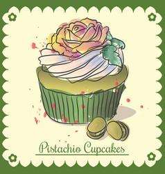 Vintage card pistachio cupcakes vector